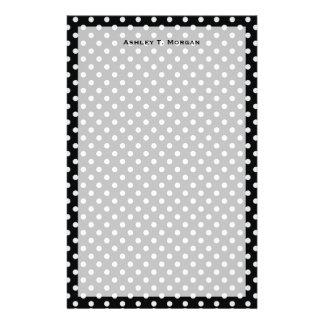 Black and White Polka Dot Pattern Stationery Paper