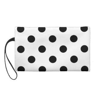 Black and White Polka Dot Pattern Wristlet