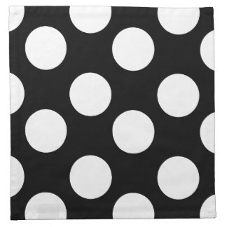 Black and White Polka Dot Print Cloth Napkins