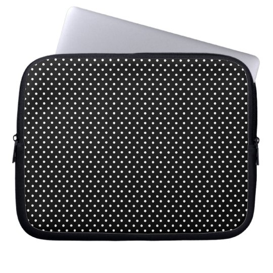 Black and White Polka Dot Print Laptop Sleeve