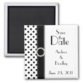 Black and White Polka Dot Save the Date Magnet Magnet