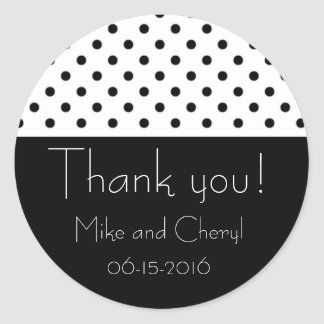 Black and White Polka Dot Wedding Favor Stickers