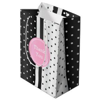 Black and White Polka Dots and Pink -Thank You Medium Gift Bag