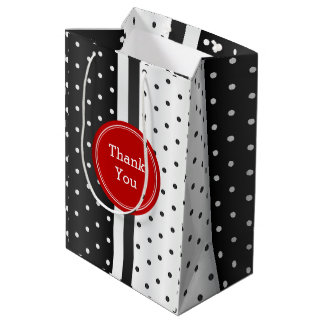 Black and White Polka Dots and Red -Thank You Medium Gift Bag