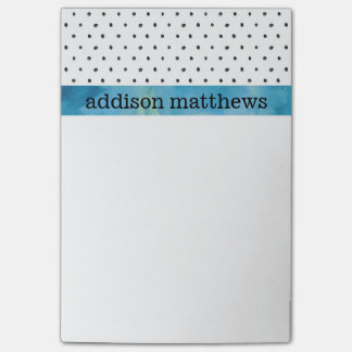 Black and White Polka Dots Blue Watercolor Post-it Notes