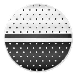 Black and White Polka Dots Ceramic Knob