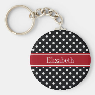 Black and White Polka Dots Cranberry Name Monogram Basic Round Button Key Ring