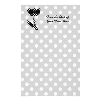 Black and White Polka Dots Customized Stationery
