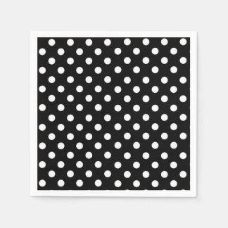Black and White Polka dots Disposable Serviettes