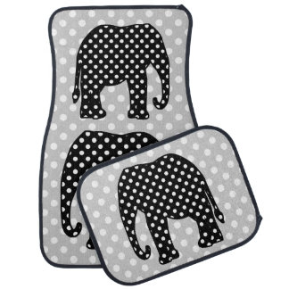 Black and White Polka Dots Elephant Car Mat