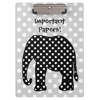 Black and White Polka Dots Elephant Clipboard