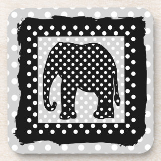 Black and White Polka Dots Elephant Drink Coasters