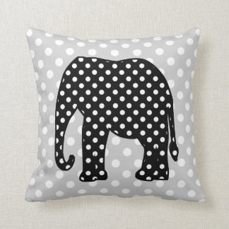 Black and White Polka Dots Elephant Cushion