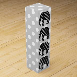 Black and White Polka Dots Elephant Wine Gift Box