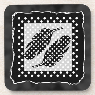 Black and White Polka Dots, Feather Beverage Coaster