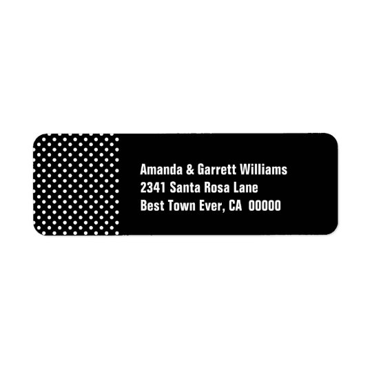 Black and White Polka Dots LA01 Return Address Label