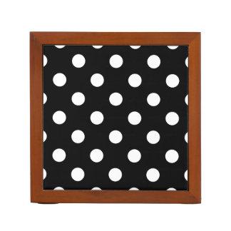 Black and White Polka Dots Pattern Desk Organiser