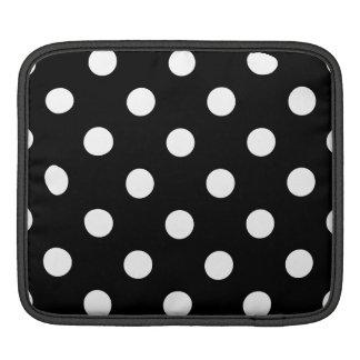 Black and White Polka Dots Pattern iPad Sleeve