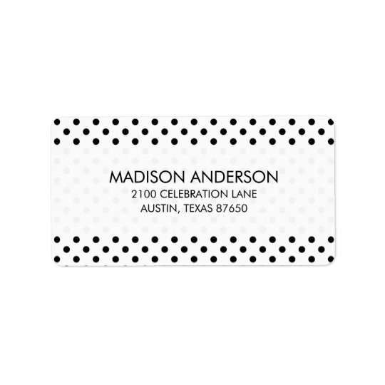 Black and White Polka Dots Pattern Label