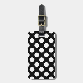 Black And White Polka Dots Pattern Luggage Tag