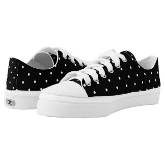 Black And White Polka Dots Pattern Printed Shoes