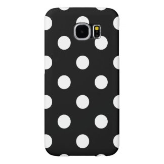 Black and White Polka Dots Pattern Samsung Galaxy S6 Cases