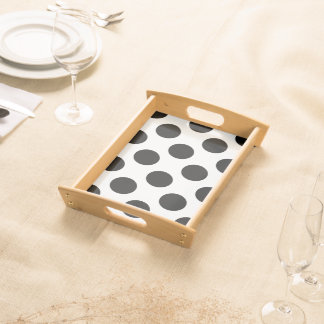 Black And White Polka Dots Pattern Serving Tray