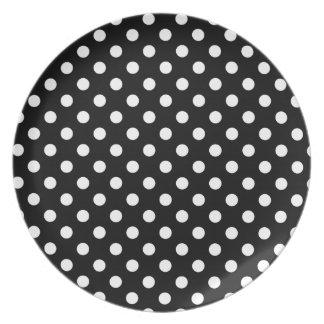 Black and White Polka Dots Dinner Plates
