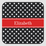 Black and White Polka Dots Red Name Monogram Square Stickers