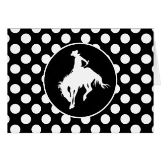 Black and White Polka Dots; Rodeo Cowboy Greeting Card
