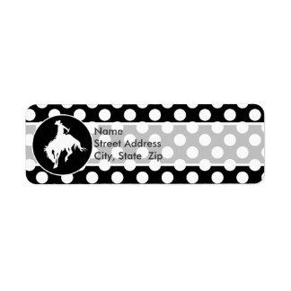 Black and White Polka Dots; Rodeo Cowboy Return Address Label