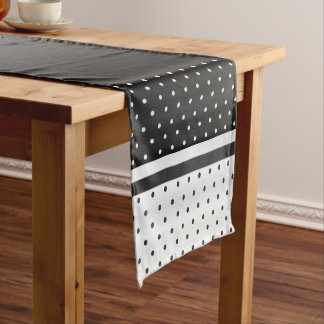Black and White Polka Dots Short Table Runner
