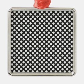 Black and White Polka Dots Silver-Colored Square Decoration