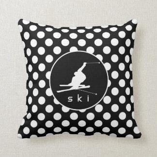 Black and White Polka Dots; Snow Ski Throw Pillow