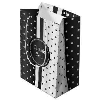 Black and White Polka Dots -Thank You Medium Gift Bag