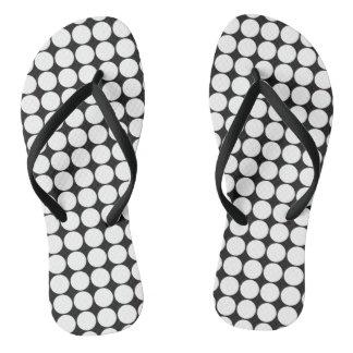 Black and White Polka Dots Thongs