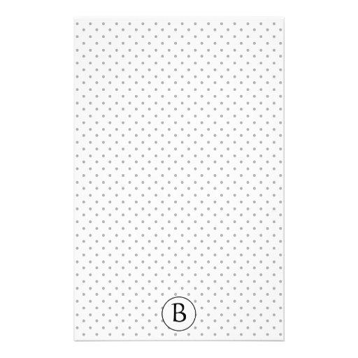 Black and White Polka Dots w/Monogram Personalized Stationery
