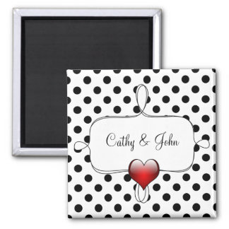 Black and White Polka Dots Wedding Square Magnet