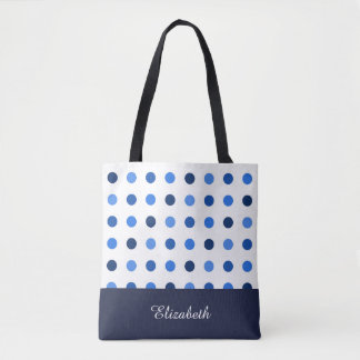 Black and White Polka Dots with Monogram Tote Bag