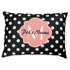 Black and White Polka Dots with Pink Monogram Pet Bed