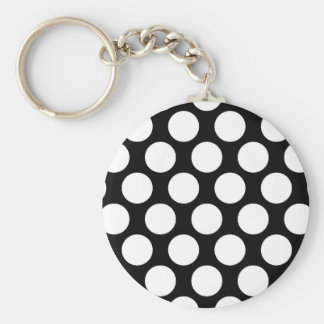 Black and White Polkadot Keychain