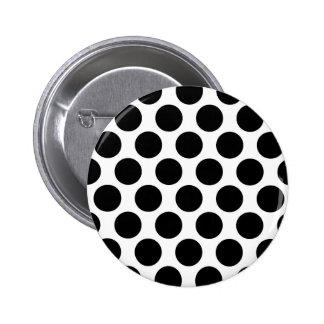 Black and White Polkadot pattern Button