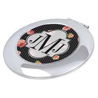Black and White Polkadot Rose Pattern Compact Mirror