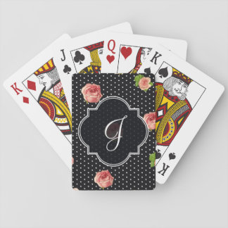 Black and White Polkadot Rose Pattern Playing Cards