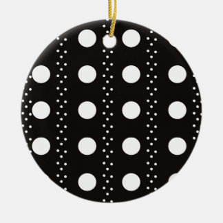 Black and White Polkadots Ceramic Ornament