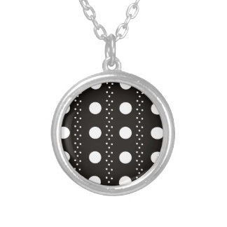 Black and White Polkadots Silver Plated Necklace