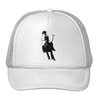 Black and White Polo Player Swinging Mallet Cap