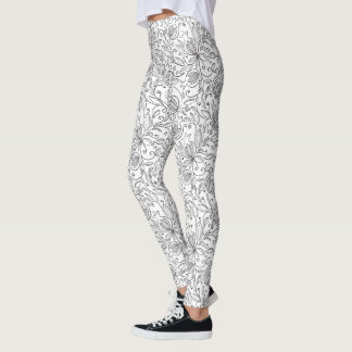 Black and White Pomegranate Leggings