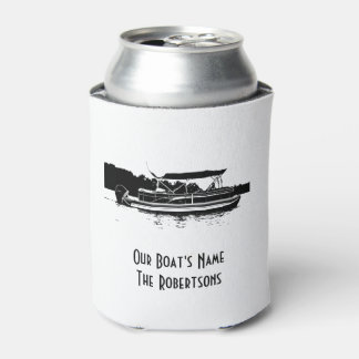 Black and White Pontoon Boat Can Cooler