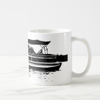 Black and White Pontoon Boat Personalized Mug